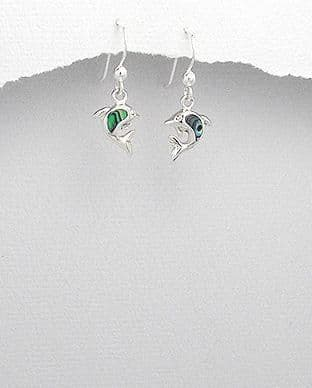 925 Sterling Silver Dolphin Earrings Stone Set With Abalone Shell